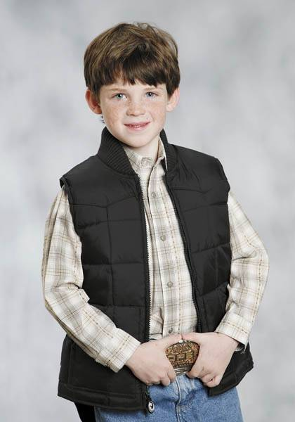 Roper Boys Range Gear Quilted Down Vest - Black