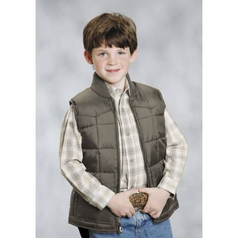 Roper Boys Range Gear Quilted Down Vest - Brown