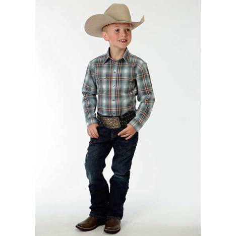 Roper Boys Shadow Plaid Long Sleeve Snaps Shirt