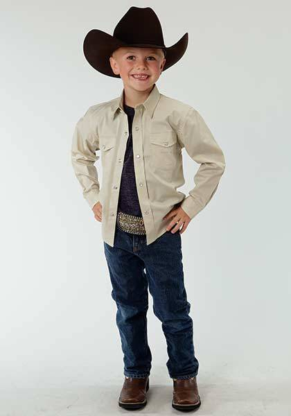 Roper Boys Solid Poplin Long Sleeve Snap Shirt - White