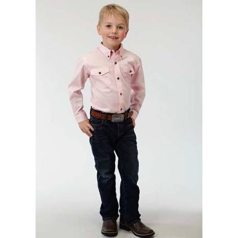 Roper Boys Solid Poplin Long Sleeve Variegated Button Shirt - Pink