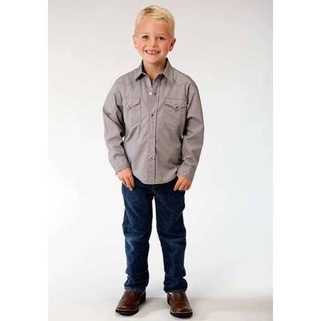 Roper Boys Solid Poplin Western Long Sleeve Snap Shirt - Grey