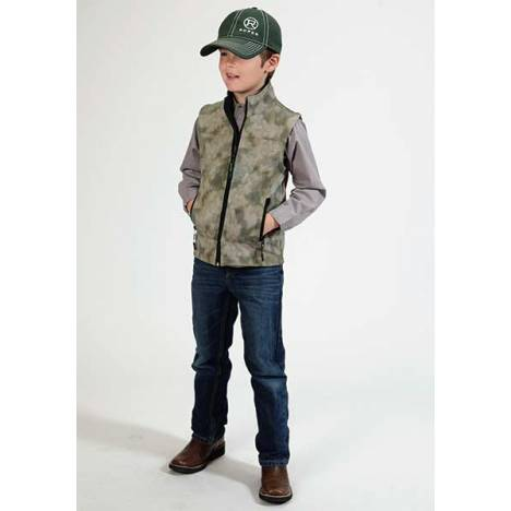 Roper Boys Technical Fleece Lined Blurry Print Softshell Vest
