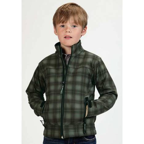 Roper Boys Technical Fleece Lined Plaid Softshell Jacket
