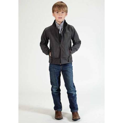 Roper Boys Technical Fleece Lined Textured Print Softshell Jacket