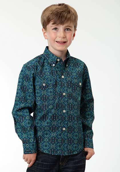 Roper Boys Turkish Medallion Long Sleeve Button Shirt