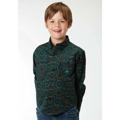 Roper Boys Vintage Medallion Long Sleeve Button Shirt