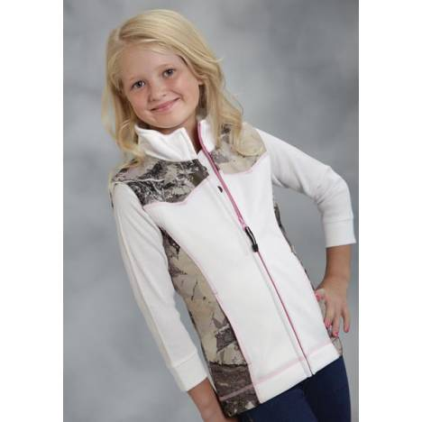 Roper Girls Accented Winter Camo Bonded Fleece Vest - White