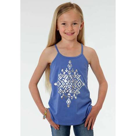 Roper Girls Aztec Foil Print Spaghtetti Strap Tank Top
