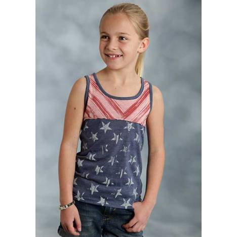 Roper Girls Distressed Stars And Stripes Print Racer Back Tank Top