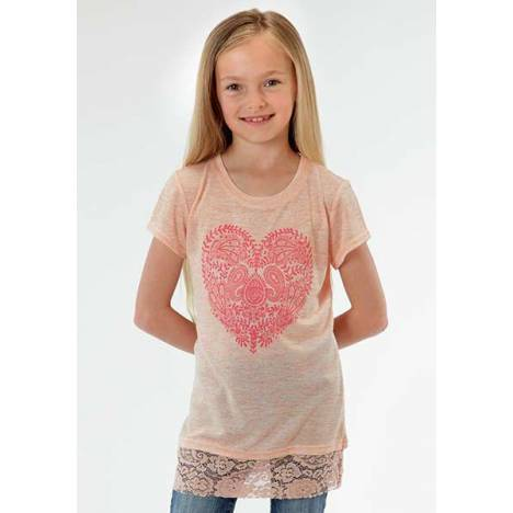 Roper Girls Paisley Floral Heart T-Shirt