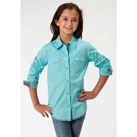 Roper Girls Poplin Western Long Sleeve Snap Shirt - Aqua
