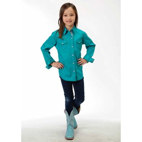 Roper Girls Poplin Western Long Sleeve Snap Shirt - Teal
