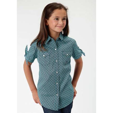 Roper Girls Shadow Box Geo Short Tie Sleeve Snap Shirt