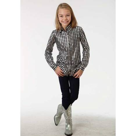 Roper Girls Shiny Houndstooth Long Sleeve Snap Shirt