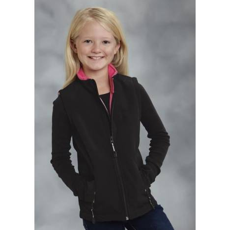Roper Girls Technical Fleeve Softshell Vest - Black/Pink