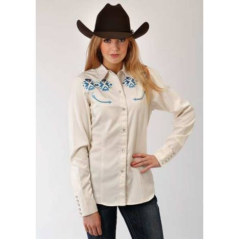 Roper Ladies Aztec Embroidered Long Sleeve Snap Shirt