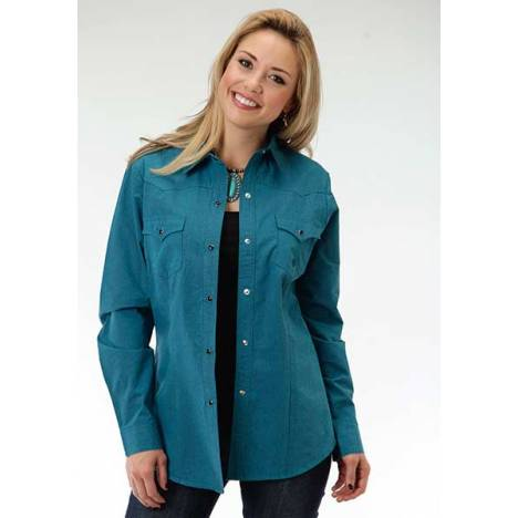 Roper Ladies Black Fill Poplin Long Sleeve Snap Shirt - Teal Green