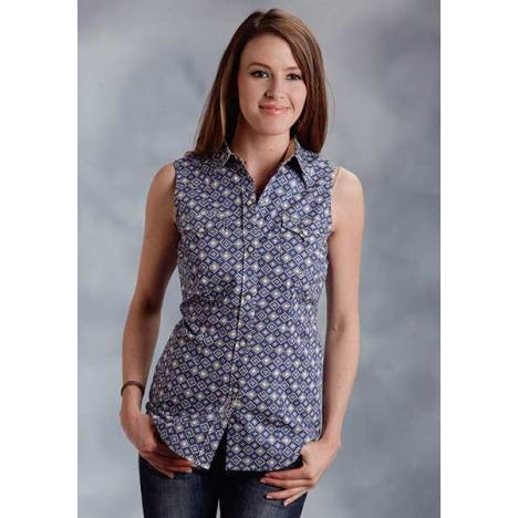 Roper Ladies Diamond Geo Sleeveless Snap Shirt