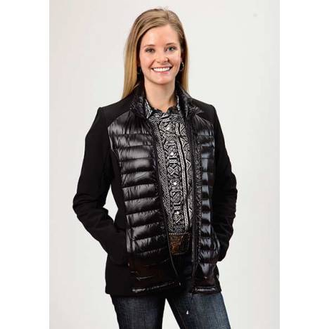 Roper Ladies Down Parachute With Durable Softshell Sleeve Jacket - Black