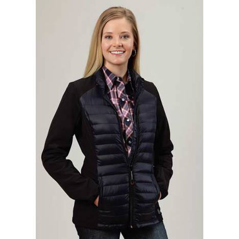 Roper Ladies Down Parachute With Durable Softshell Sleeve Jacket - Blue