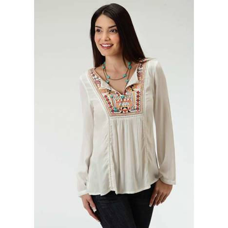 Roper Ladies Embroidered Beaded Peasant Blouse