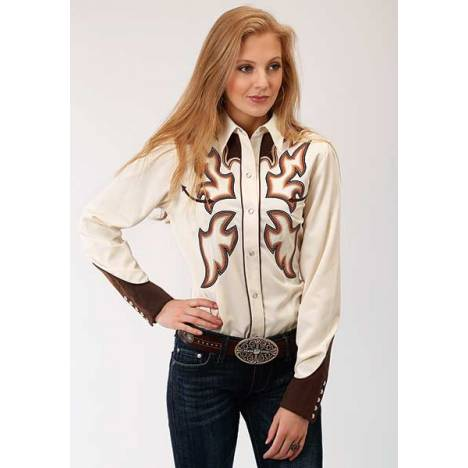 Roper Ladies Flame Stitch Long Sleeve Snap Shirt
