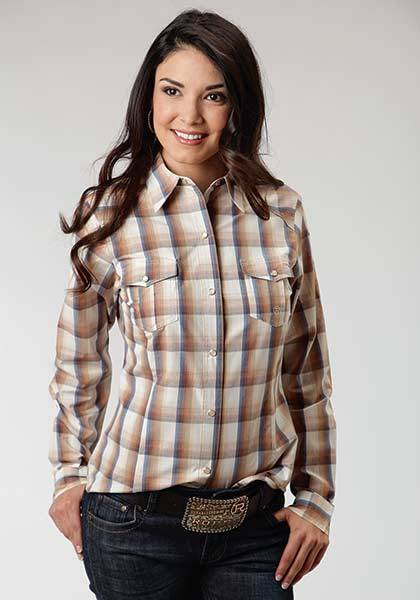 Roper Ladies Goldenrod Plaid Long Sleeve Snap Shirt