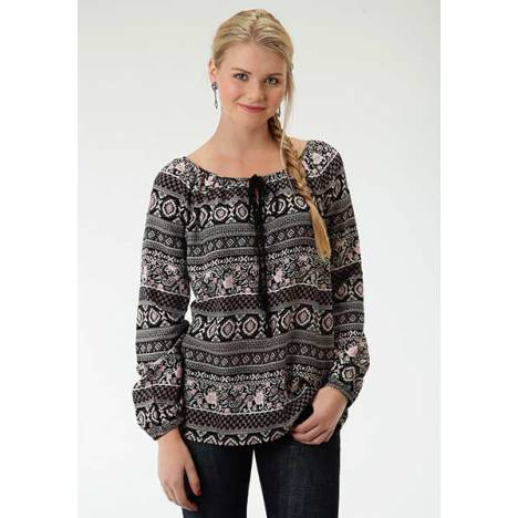 Roper Ladies Gypsy Women Shirred Neckline Blouse