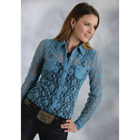 Roper Ladies Lace Retro Western Long Sleeve Button Shirt - Blue