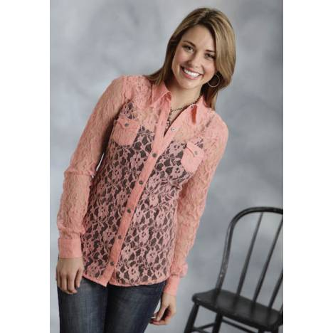 Roper Ladies Lace Retro Western Long Sleeve Button Shirt - Pink