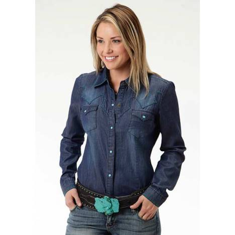 Roper Ladies Lightweight Stone Wash Denim Shirt
