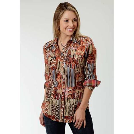 Roper Ladies Native Patch Printed Shirt