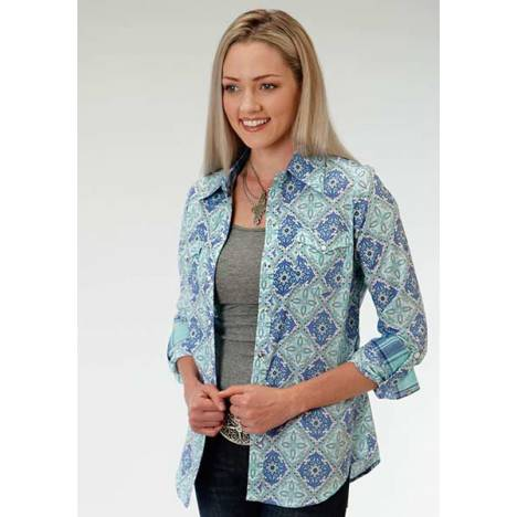 Roper Ladies Plus Size Aqua Fresh Medallion Long Sleeve Snap Shirt