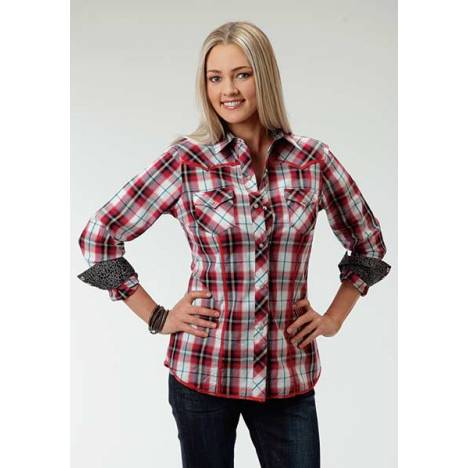 Roper Ladies Plus Size Canyon Plaid Long Sleeve Snap Shirt