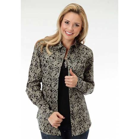 Roper Ladies Plus Size Newpaper Paisley Long Sleeve Snap Shirt