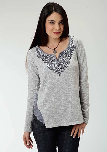 Roper Ladies Plus Size Reverse Fabric Side Panel Henley - Blue
