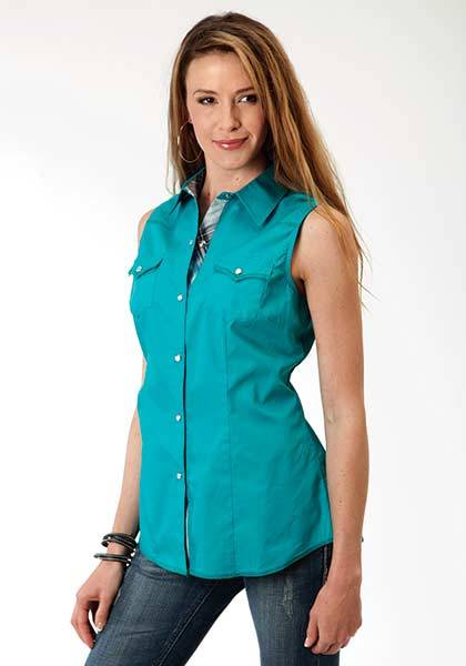 Roper Ladies Plus Size Solid Poplin Western Sleeveless Snap Shirt - Teal