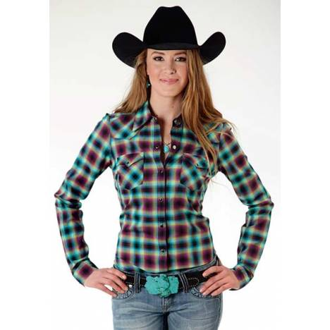 Roper Ladies Plus Size Treasure Hunt Long Sleeve Snap Shirt