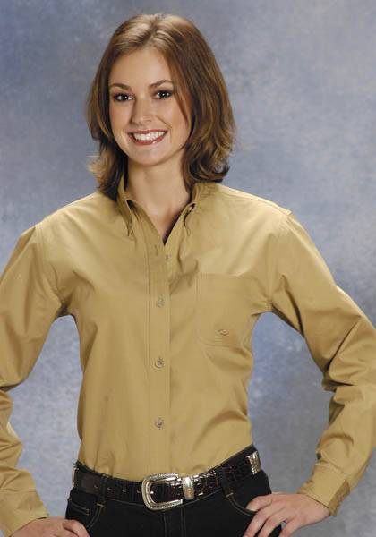 Roper Ladies Poplin Long Sleeve Variegated Button Shirt - Khaki