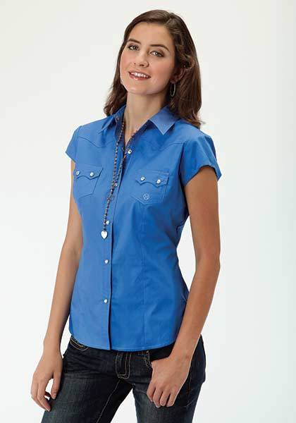 Roper Ladies Poplin Short Sleeve Snap Shirt - Blue