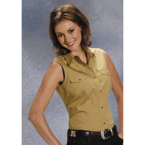 Roper Ladies Poplin Sleeveless Variegated Snap Shirt - Khaki