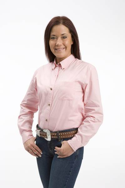 Roper Ladies Popling Long Sleeve Variegated Button Shirt - Pink