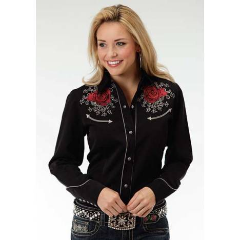 Roper Ladies Rose & Skull Long Sleeve Snap Shirt