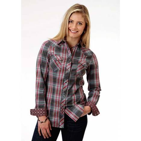 Roper Ladies Rose Plaid Dobby Western Long Sleeve Opaque Snap Shirt