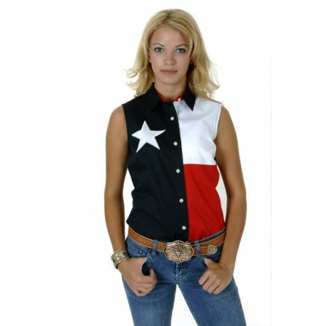 Roper Ladies Sleeveless Texas Pieced Flag Shirt