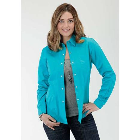 Roper Ladies Solid Poplin Long Sleeve Snap Shirt - Turquoise Blue