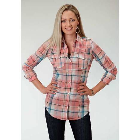 Roper Ladies Spring Spirit Plaid Long Sleeve Snap Shirt