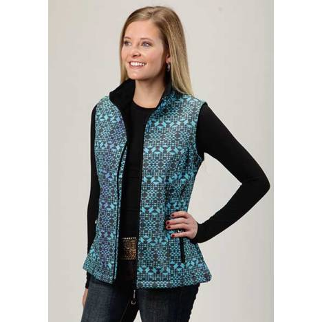 Roper Ladies Technical Diamond Aztec Print Softshell Vest