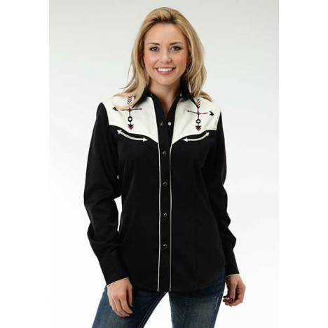 Roper Ladies Two Tone Arrow Embroidered Long Sleeve Snap Shirt